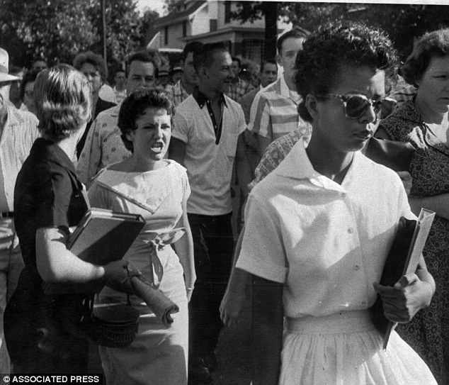 Elizabeth Eckford entering Little Rock Central High School in 1957.
